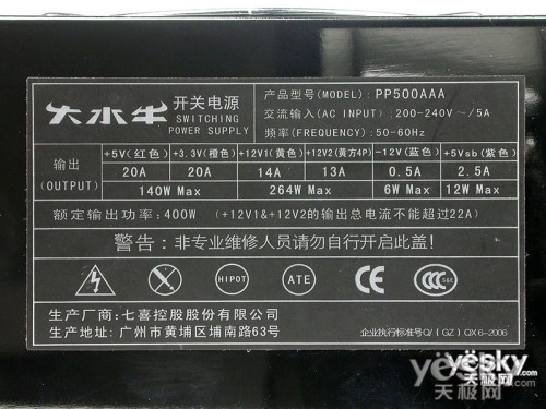 智能温控风扇 大水牛PP500AAA电源售368元