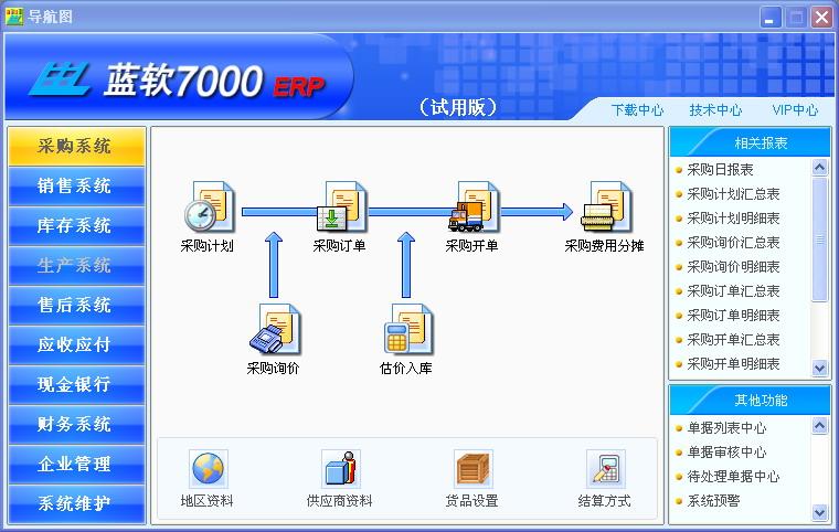 蓝软7000ERP商业企业管理软件(商业版)截图1