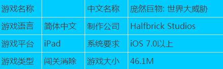每日推荐 iPad游戏下载 庞然巨物世界大威胁