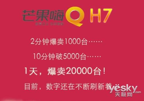 两万台遭疯抢 芒果嗨Q H7京东首发场面火爆