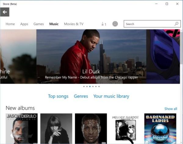Windows 10 Beta应用商店加入音乐内容板块