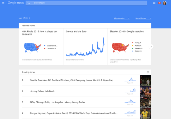 Google Trends新功能 可实时显示网络热点