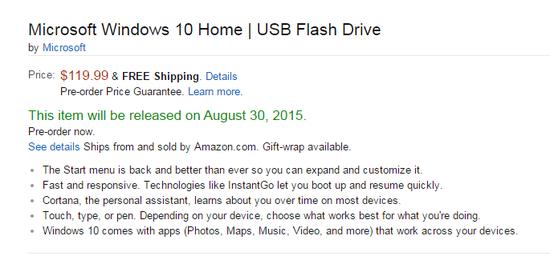 微软将出售Win10安装U盘:晚于推送升级一个月