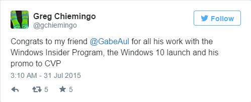 实至名归 Windows 10大功臣Gabe Aul晋升