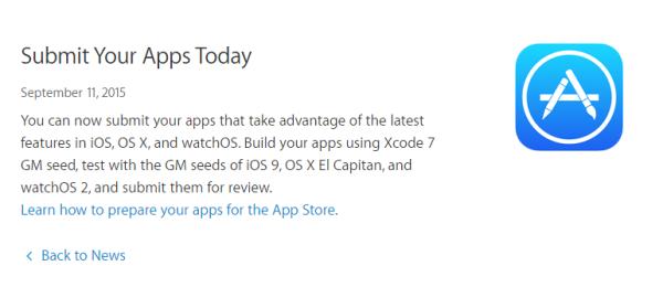 开发者可为iOS 9等新系统提交新应用了