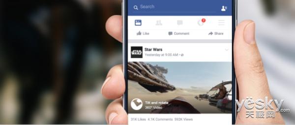 Facebook宣布信息流News Feed支持360度视频