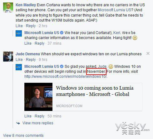 Lumia美国官方确认Win10 Mobile于11月推送