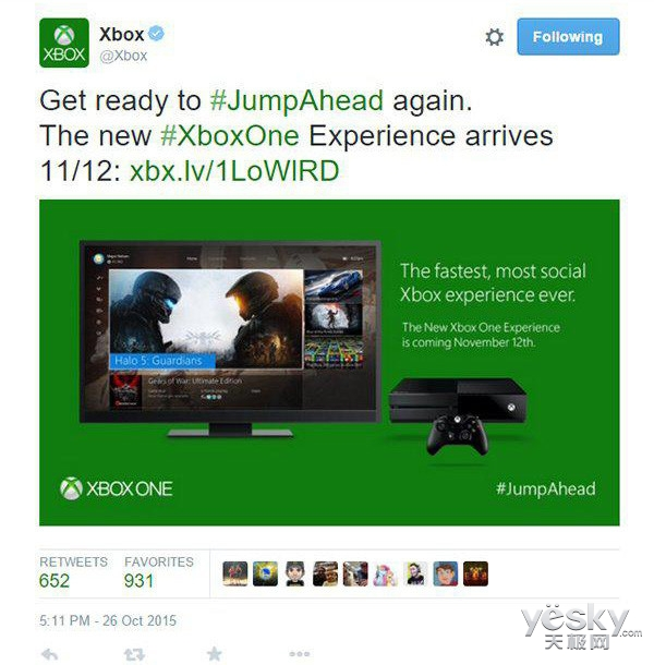 Xbox One版Win10系统将于11月12日正式推送