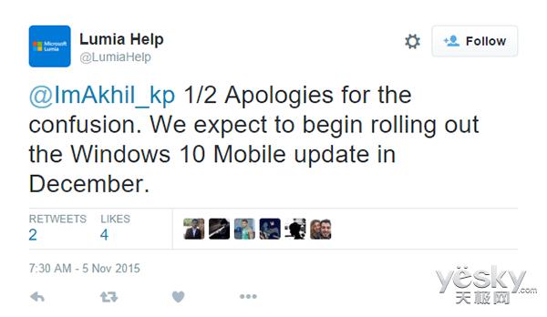 微软Win10 Mobile正式版将于12月开始推送