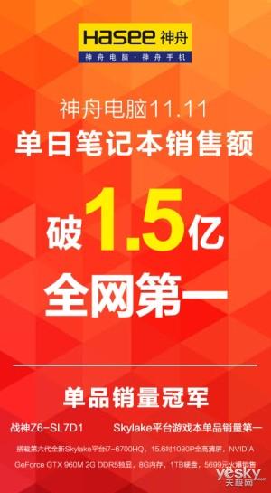 成功转型互联网!神舟双11全网销售额破1.5亿