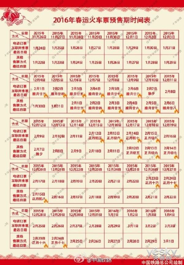 中国铁路公司公布2016年春运火车票预售时间