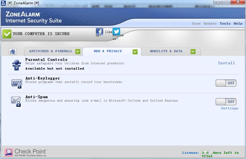 ZoneAlarm Security Suite截图2
