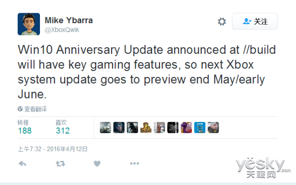 Win10周年更新预览版最早5月底登陆Xbox One