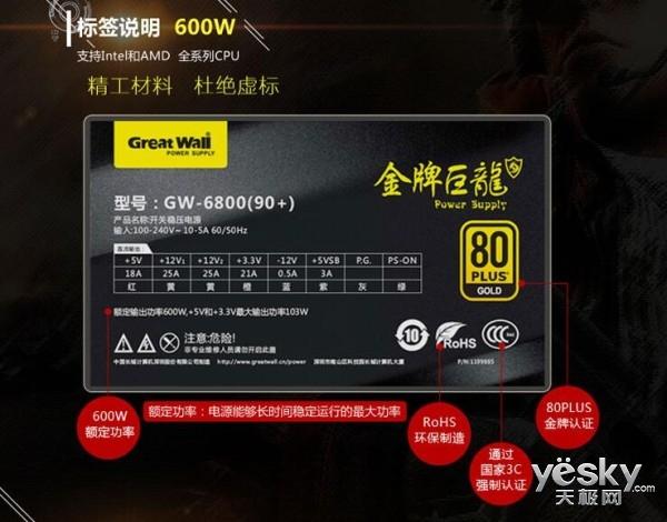 静等您召唤 长城600W巨龙GW-6800静音出色
