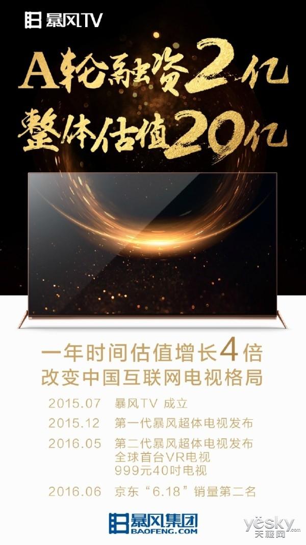 暴风TV完成2亿元A轮融资 成立1年估值增4倍