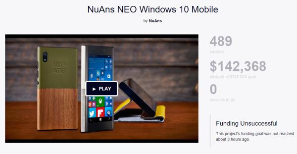 预料之中 Windows 10手机NuAns NEO众筹失败