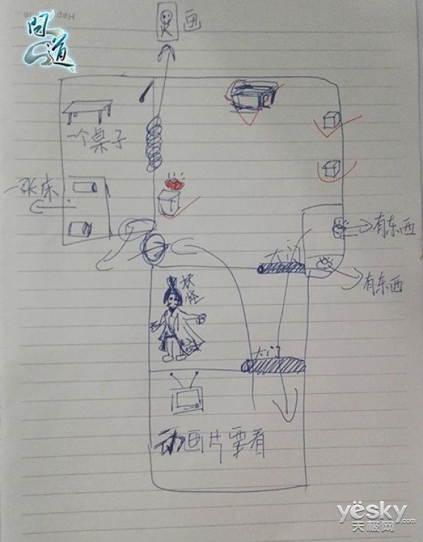 问道订制主题密室 8岁小道友手绘通关路线图
