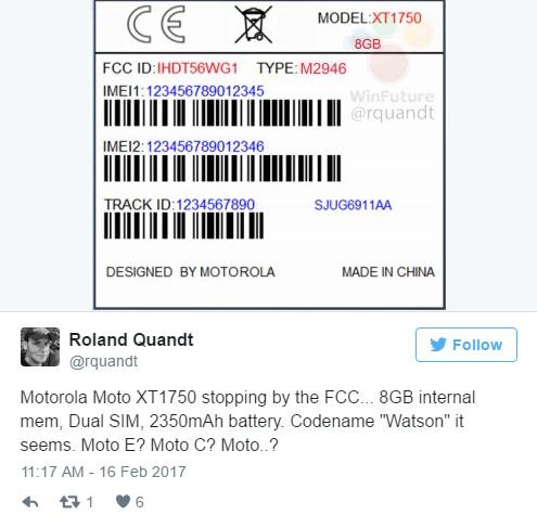 Moto旗舰新机Watson曝光 拥有8GB内存