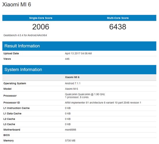 6GB小米6跑分首曝光 三星S8机皇地位不保