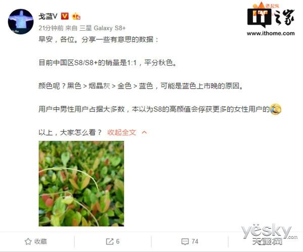三星S8/S8+中国区销售数据曝光 男性居多