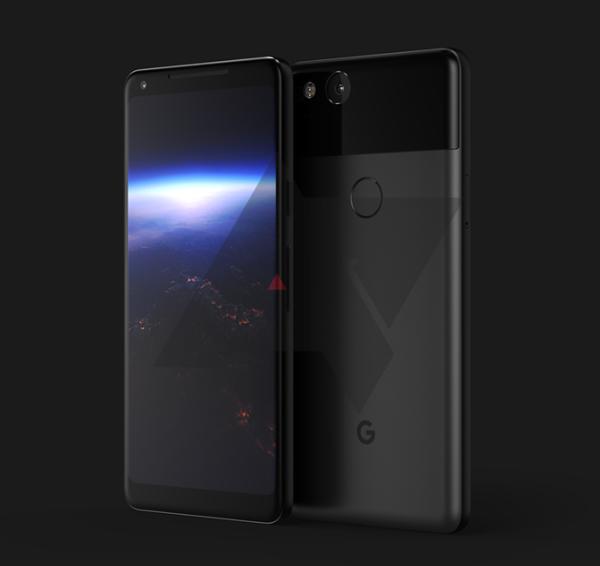 谷歌Pixel 2 XL银色/蓝色版渲染图曝光