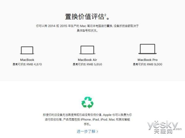 苹果Mac以旧换新服务上线:最高可抵9000元