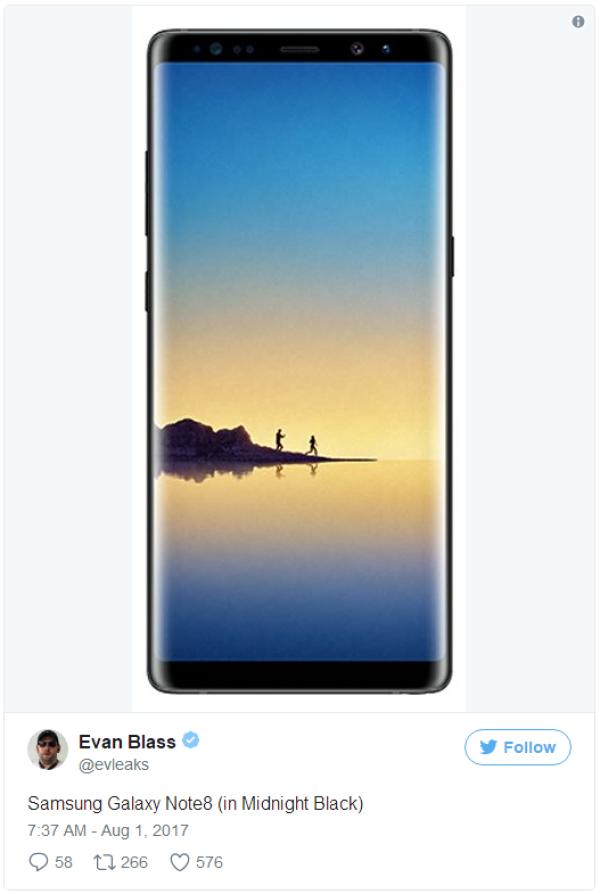 三星Note8迷夜黑渲染图曝光 与S8相似