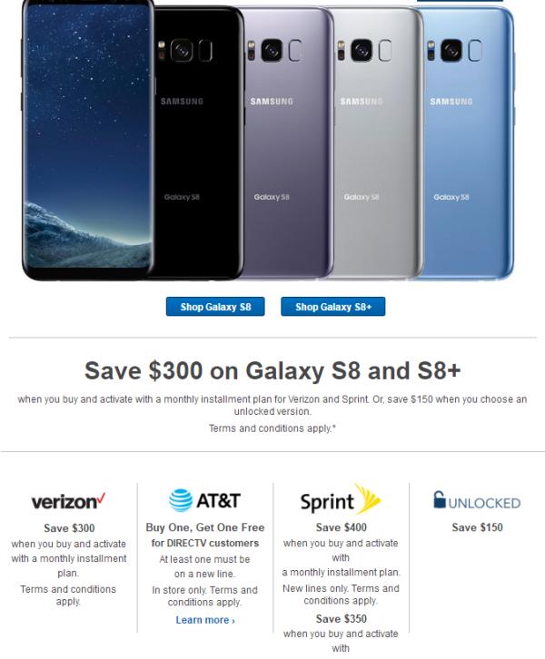 迎接Note 8?三星S8系列直降150美元
