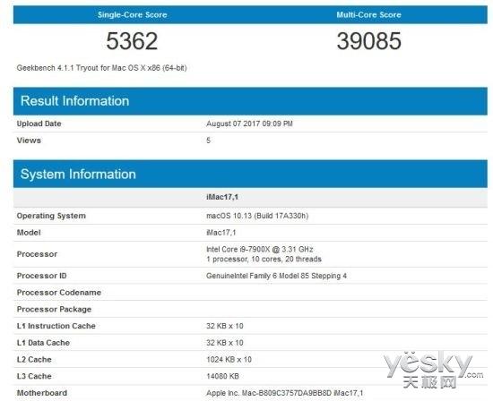 苹果新Mac/iMac Pro跑分曝光:搭载10核i9