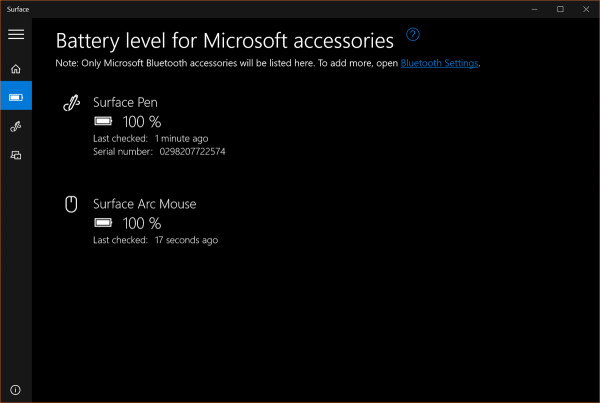 微软Surface应用支持蓝牙设备余电显示