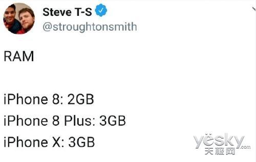 千年3GB?传苹果iPhone X将仅辅以3GB RAM