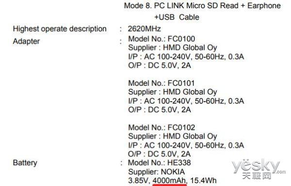 诺基亚2或将采用超大容量电池:4000 mAh