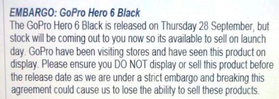 传GoPro 6 Black 9月28日发布 同天开售