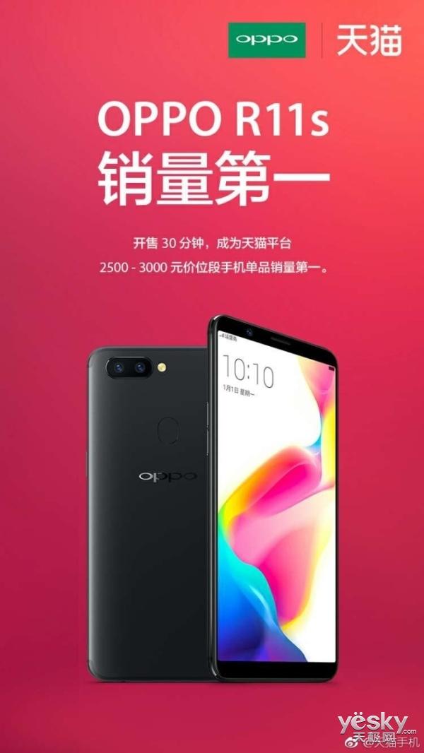 开卖30分钟 OPPO R11s成同价位手机销量冠军