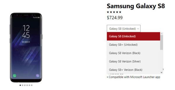 微软官方商城开始销售三星Galaxy S8/S8+