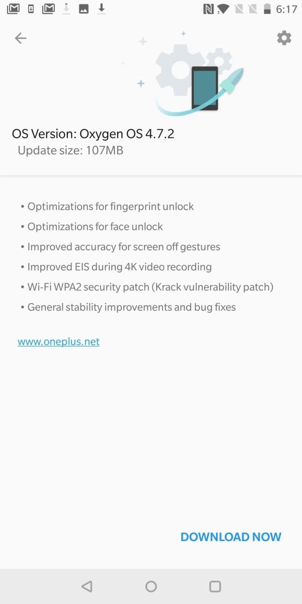 一加5T获OxygenOS 4.7.2更新 人脸和指纹识别功能得到改进