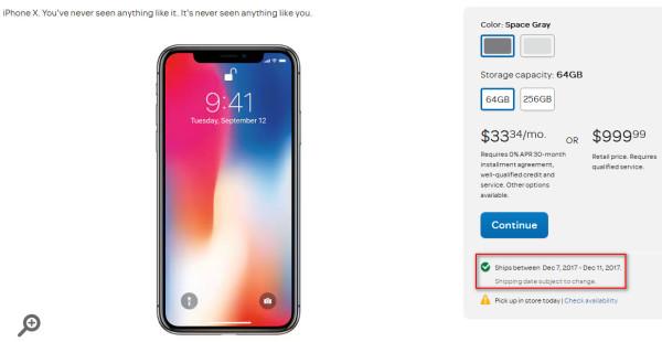 美国运营商渠道iPhone X发货时间更快:隔天到