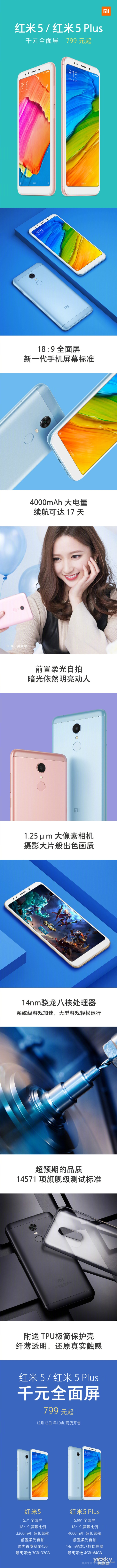 千元全面屏红米5系列手机即将上市:今日10点首发