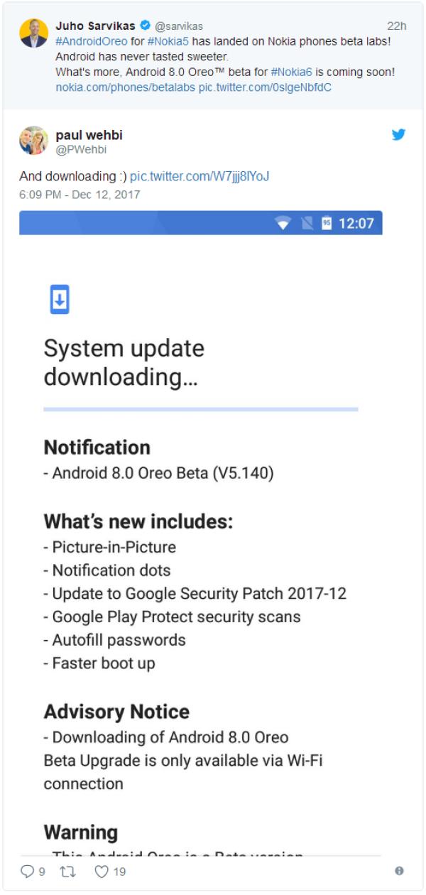诺基亚5获Android Oreo测试版 诺基亚6也快了