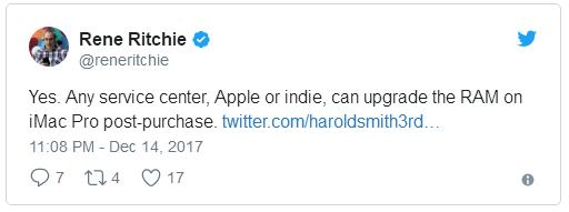 iMac Pro仅支持通过苹果和第三方授权服务商升级内存