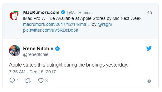 iMac Pro预计下周在Apple Store零售店上架