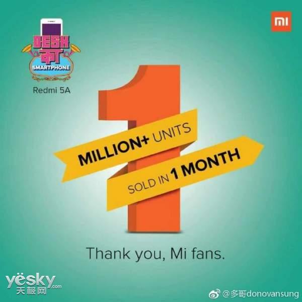 厉害了:入门级手机红米5A印度销量已超过100万部