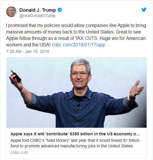 特朗普发推赞扬苹果带回380亿美元收入