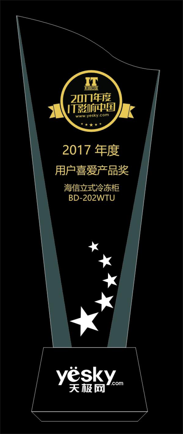 IT影响中国:海信BD-202WTU立式冷冻柜荣获用户喜爱产品奖