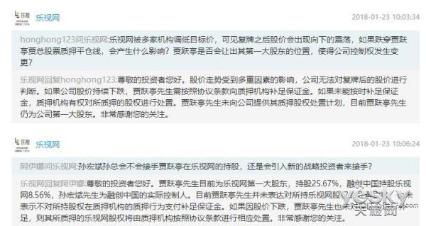 乐视网:目前贾跃亭仍是公司第一大股东 持股25.67%