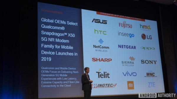 高通与18家OEM达成合作 5G基带X50将于2019年商用