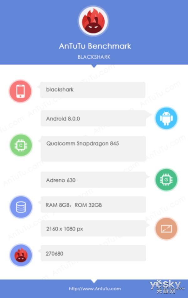 小米游戏智能手机现身安兔兔:骁龙845/8GB RAM