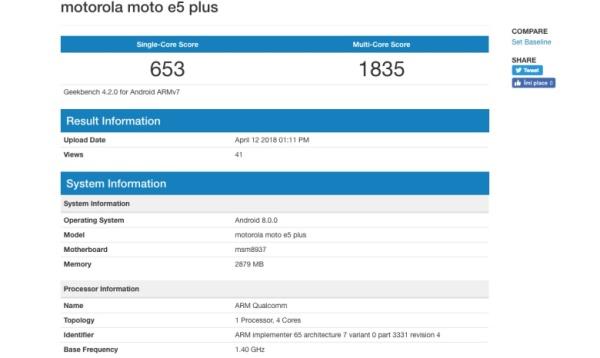Moto E5 Plus现身跑分平台:搭载骁龙430 预装安卓8.0