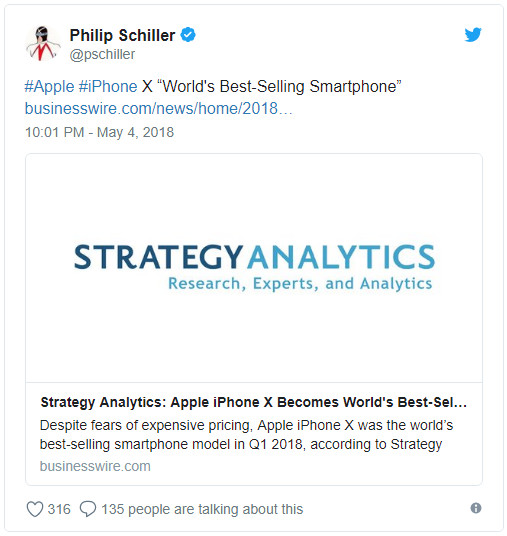 实力打脸 iPhone X称Q1全球最畅销智能手机