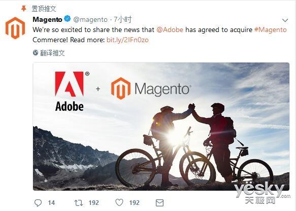 Adobe宣布斥资16.8亿美元收购电商平台Magento,加强体验云业务